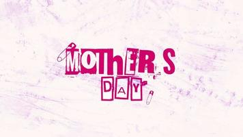 Animation text Mothers Day on white hipster and grunge background with noise video
