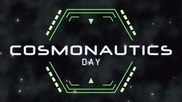 Animation closeup Cosmonautics Day text on neon futuristic screen with abstract lines and shapes on abstract background video