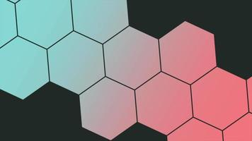 Movimiento de panal de colores geométricos abstractos sobre fondo retro video