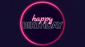 Animation text Happy Birthday and motion abstract red neon circle on disco background video