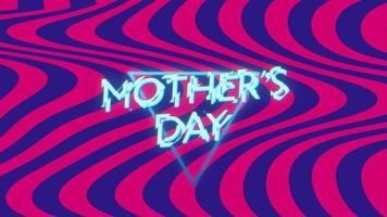 Animation text Mothers Day on fashion and club background with glowing triangles and waves video