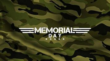 Animation text Memorial Day on green military pattern with lines and stars video