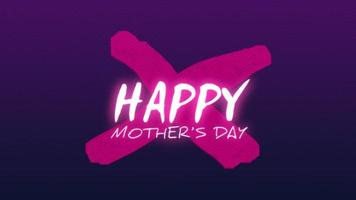 Animation text Happy Mothers Day on fashion and club background with glowing purple cross video
