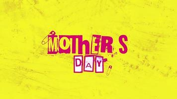 Animation text Mothers Day on yellow hipster and grunge background with noise video