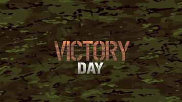 Animation text Victory Day on green military background video
