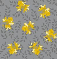 Botanical seamless pattern with yellow flowers and grey leaves on gray background. Perfect for wallpaper, background, textile or wrapping paper. vector