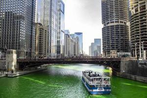 Chicago, Illinois, Mar 17, 2017 - Green Riverwalk on St Patrick's Day photo