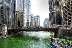 Chicago, Illinois, Mar 17, 2017 - St Patrick's Day on the Chicago Riverwalk photo