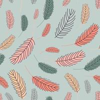 Feathers are a seamless pattern. Boho pattern with feathers. Vector illustration