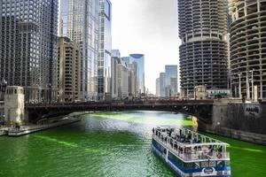 Chicago, Illinois, Mar 17, 2017 - People celebrating St Patrick's Day on the Chicago Riverwalk photo