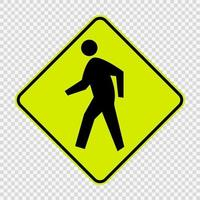 Pedestrian Crossing sign on transparent background vector