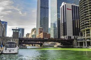 Chicago, Illinois, Mar 17, 2017 - Green river on St Patrick's Day photo