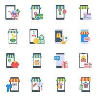 elementos de aplicaciones de compras vector