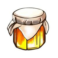 A jar of honey watercolor style isolated on a white background vector