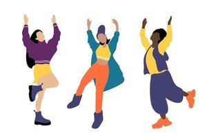 mujeres jovenes interraciales bailando vector