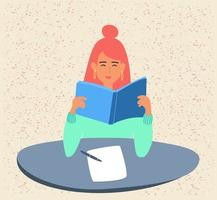 A student is reading a book, preparing for exams or a school test at the University.A young girl is holding a textbook. A teenager is studying a textbook. flat illustration in cartoon style. Vector