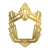 Vector image of geometrical golden frame on white background