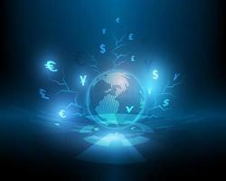 High speed electronic network vector illustration and global currency exchange