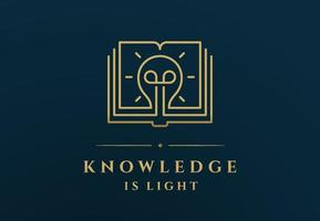 Linear golden book with light bulb depicted over Knowledge Is Light inscription vector