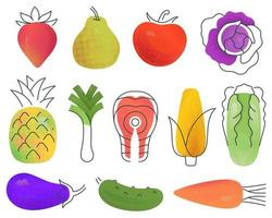 Set of assorted multicolored fruits and vegetables and fish drawn in minimalist style vector
