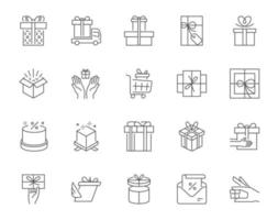 Collection of line art vector elements of different types of present boxes and gifts
