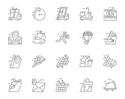 Outline icon set for delivery service vector