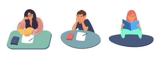 un conjunto de jóvenes estudiantes de dibujos animados, niñas y niños sentados en una mesa leyendo libros. preparación de exámenes, ilustración vectorial de stock en estilo plano vector