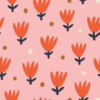 Pink backgrund with red flowers vector