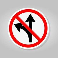 Prohibit Proceed Straight or Turn Right Road Sign vector