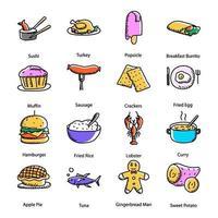 Delicious Food Doodle vector