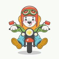Colorful vector illustration of funny cute cartoon lion character in helmet with glasses riding motorbike