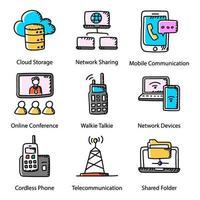 Communication Technology Doodle vector