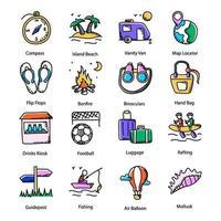 Amusement Doodle Icons vector