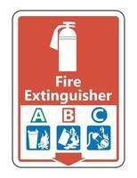 Símbolo extintor abc firmar sobre fondo blanco. vector