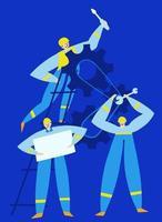 Maintenance workers provide equipment service vector illustration