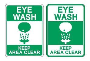 Eye Wash Keep Area Clear Sign vector