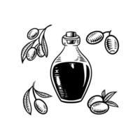 olive oil bottle silhouette retro vintage design vector