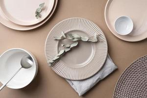 Top view of neutral tableware photo