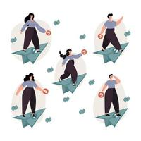 People on dollar paper planes illustration set vector