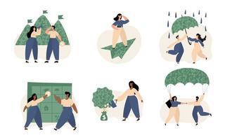 conjunto de ilustración de gestión de finanzas personales vector