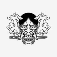 ilustración de dibujado a mano de tatuaje de máscara de oni vector