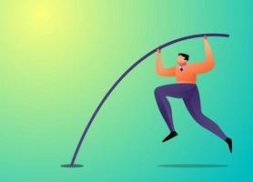 concepto de ilustración con el empresario saltando con salto con pértiga vector