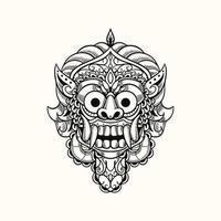 demon mask bali indonesia tshirt design illustration vector
