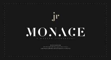 elegante fuente de letras del alfabeto y número. diseños de moda minimalista con letras clásicas. tipografía moderna fuente serif vector