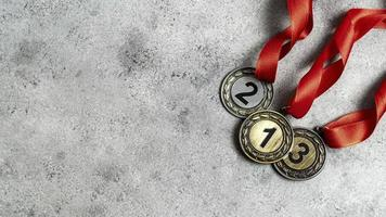 First, second, and third place medals photo