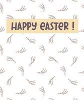 tarjeta de felicitación de pascua feliz. postal con una ramita de sauce. diseño para pascua, impresión, papel, postales vector