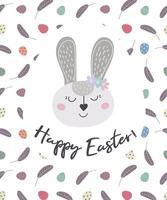 tarjeta de felicitación con conejito de pascua feliz pascua. el conejo de Pascua. ilustración vectorial. diseño de pascua, impresión, postales, pegatinas, invitaciones vector
