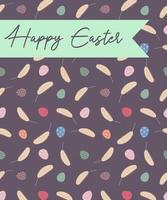 Happy Easter greeting card. Postcard with Easter eggs. Design for Easter, print, paper, banners, web. Vector illustration