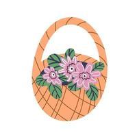 una canasta trenzada con flores rosadas se aísla en un fondo blanco. Ilustración de dibujos animados plana. ilustración vectorial vector
