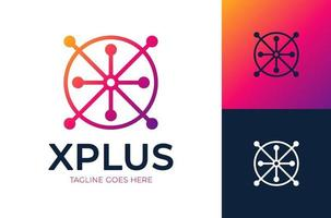 Letter X medical plus logo. Abstract Initial Letter X Logo. Colorful Motion Circle Shape Style with X Letter inside. Flat Vector Logo Design Template Element.